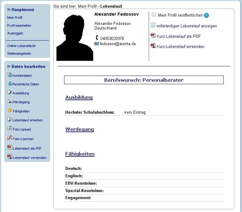 Online Lebenslauf Mit Lebenslauf Onlinede