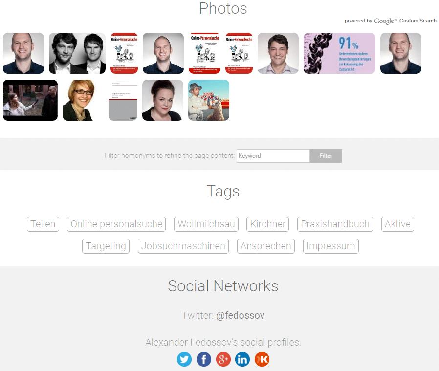 Die Personensuchmaschine WebMii findet auch zu einer Person gehörende YouTube-Kanäle.