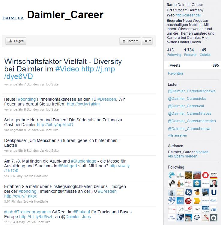Daimler macht auch beim Social Media Employer Branding über Twitter vieles richtig.