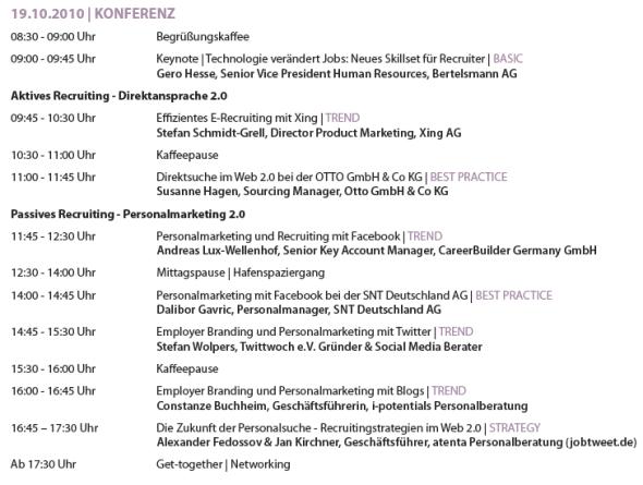 smrc agenda1 Social Media Recruiting Conference 2010 in Hamburg