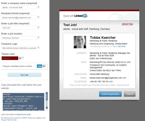 linked in Apply with LinkedIn   Die One Click Bewerbung für jede Website