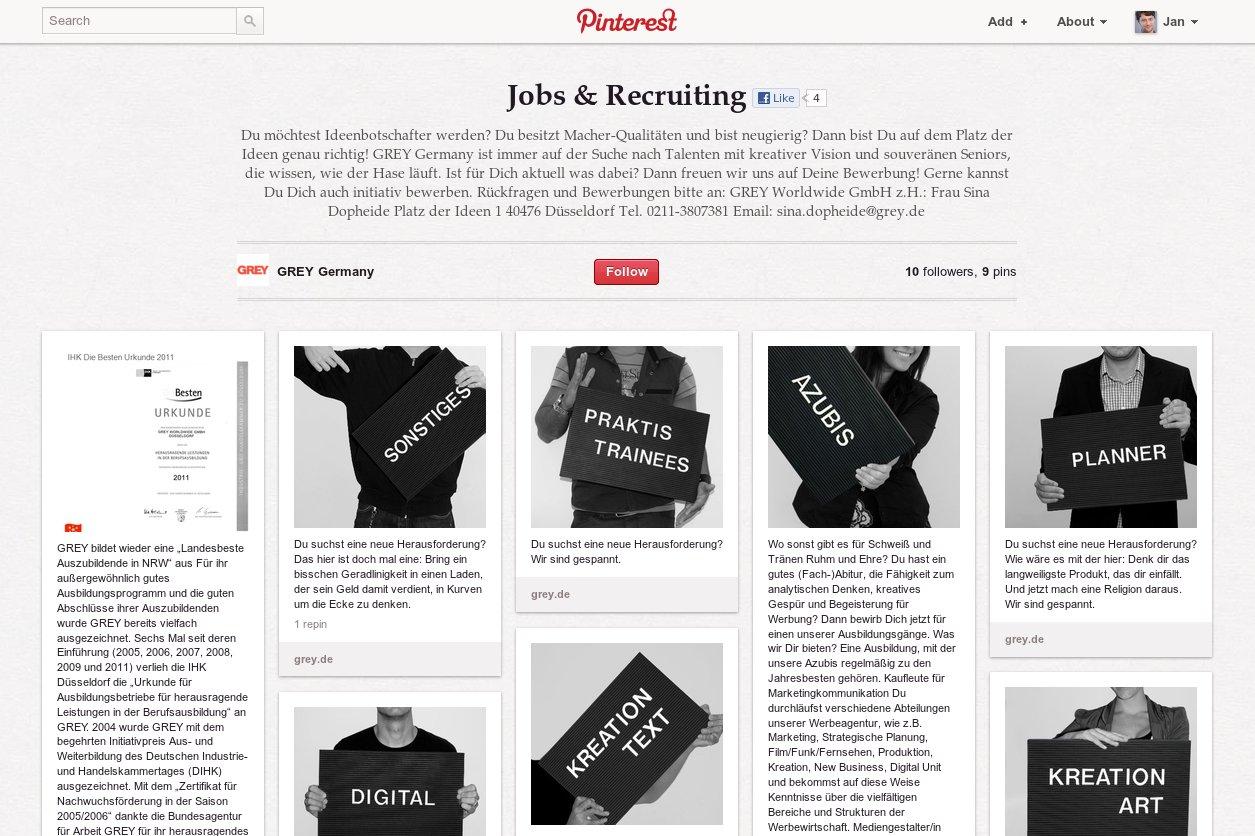 Jobsuche und Recruiting bei Pinterest