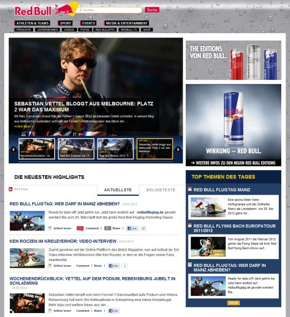 redbull page1 Red Bull: Content Marketing auf höchstem Niveau