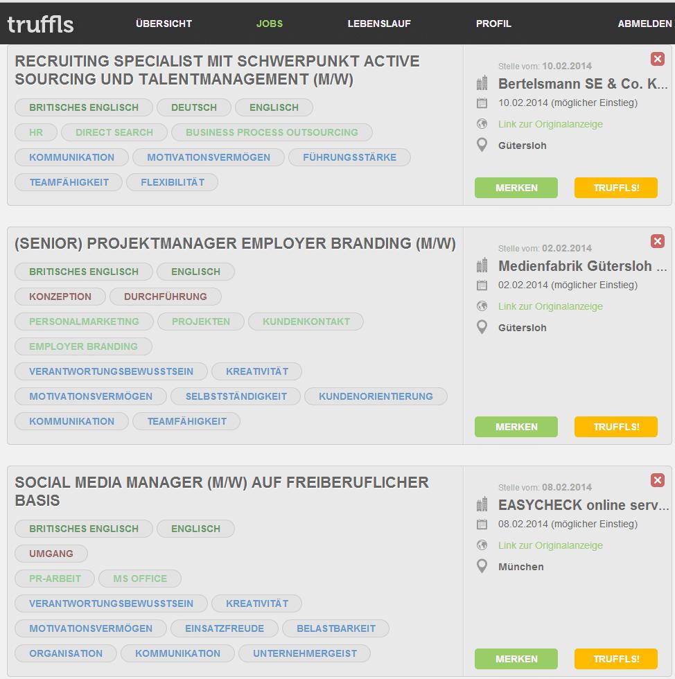 truffls auswahl Semantische Jobsuche mit Truffls.de