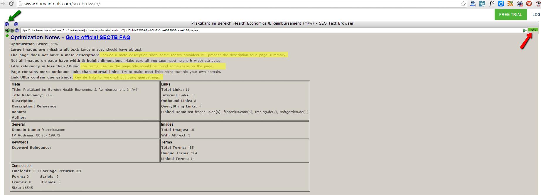Der SEO-Browser von Domaintools kann ein hilfreiches Tool fürs HR-SEO sein.