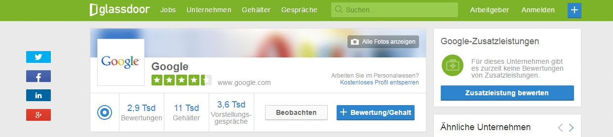 Gehälter Google Bringt Glassdoor Gehaltstransparenz nach Deutschland?