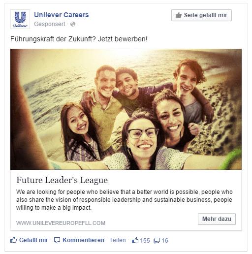 Facebook-Werbung für die Karriere-Webseite