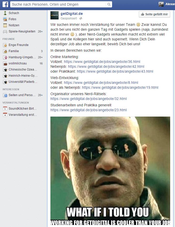 Die Karriere-Webseite im Miniformat, auf eine Anzeige reduziert.