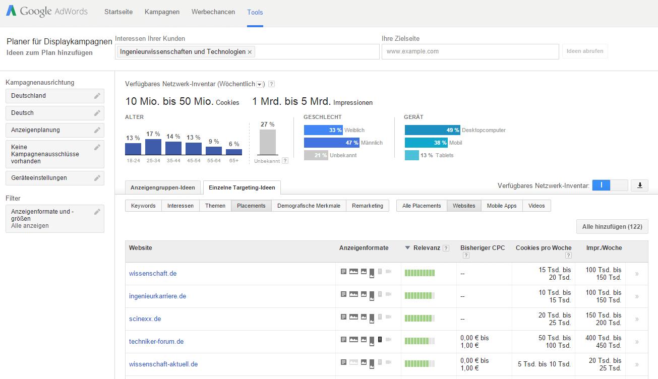 Recherche mit dem Google Planer für Displaykampagne