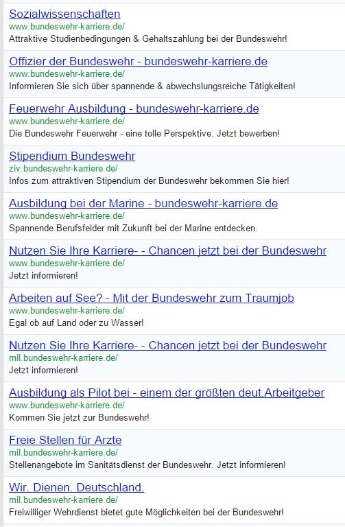 Die Bundeswehr setzt im Personalmarketing auf  Google AdWords Anzeigen.