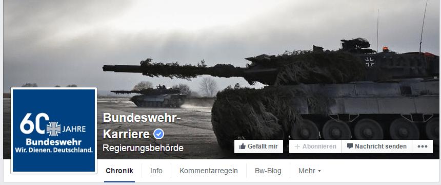 Die Facebook-Fanpage der Bundeswehr