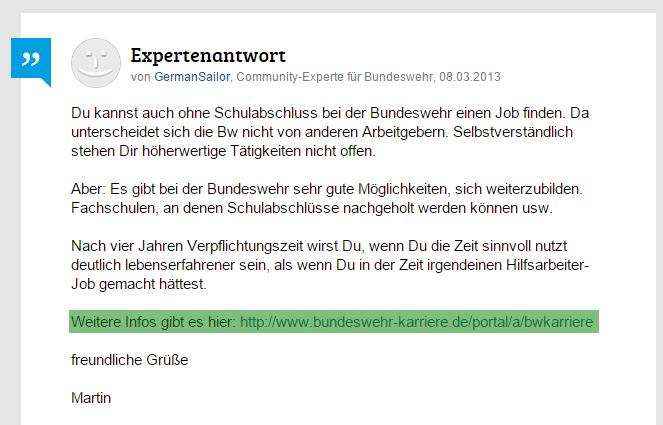 Die Bundeswehr nutzt die Ratgeber-Community gutefrage.net ist als Personalmarketing-Tool.