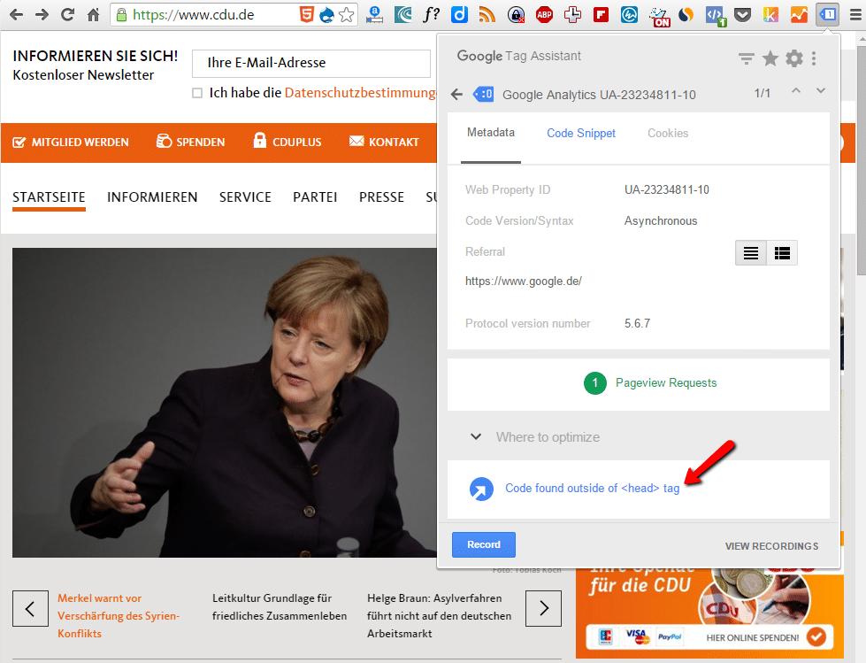 Google tag assistant - 3cf0