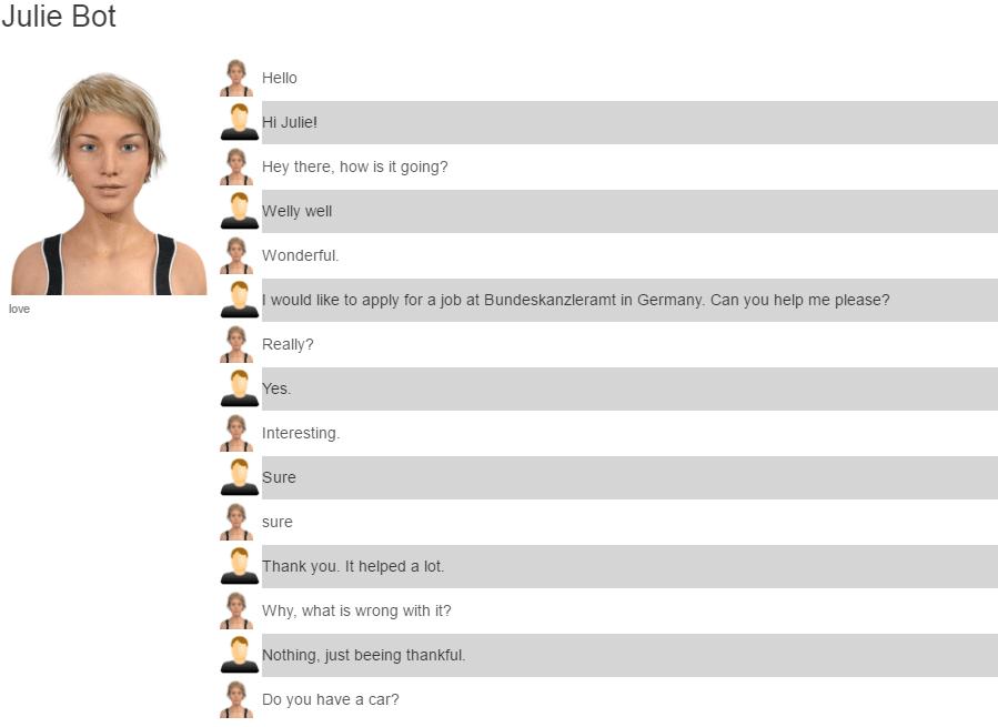 Chatten mit Chatbot Julie