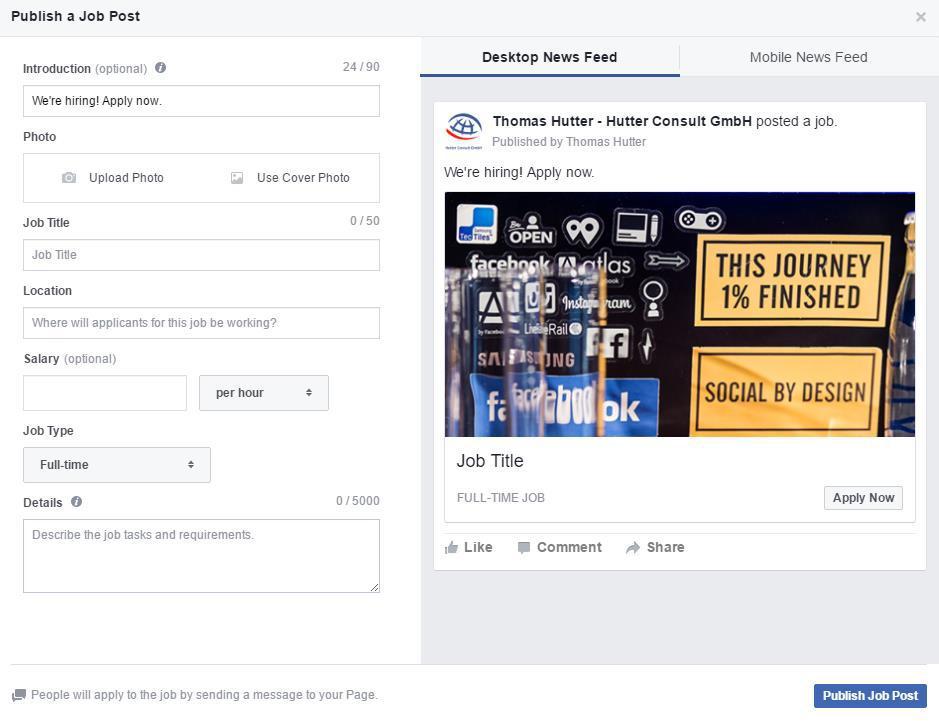 So sieht das neue Facebook-Jobformat aus