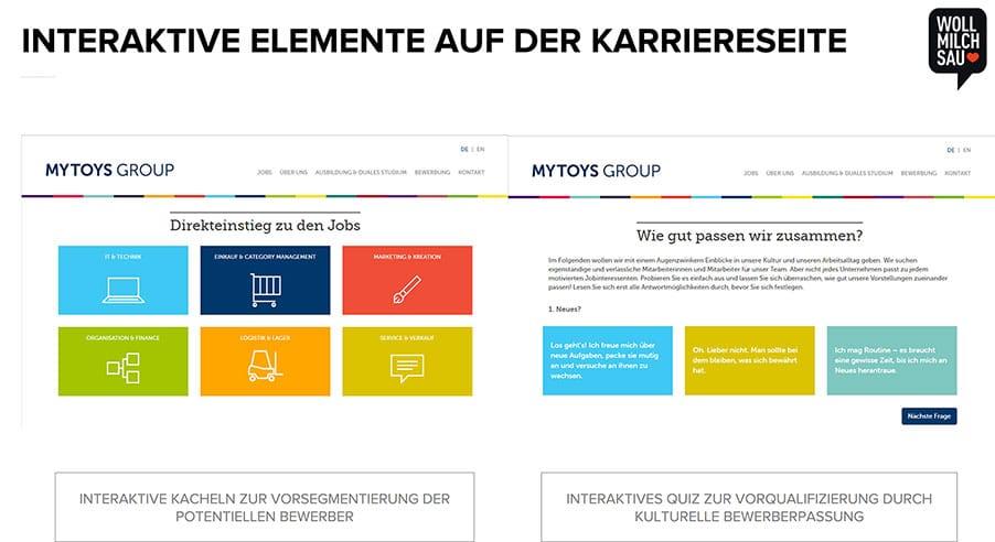Interaktive Elemente können die Benutzerfreundlichkeit der Karriereseite steigern.