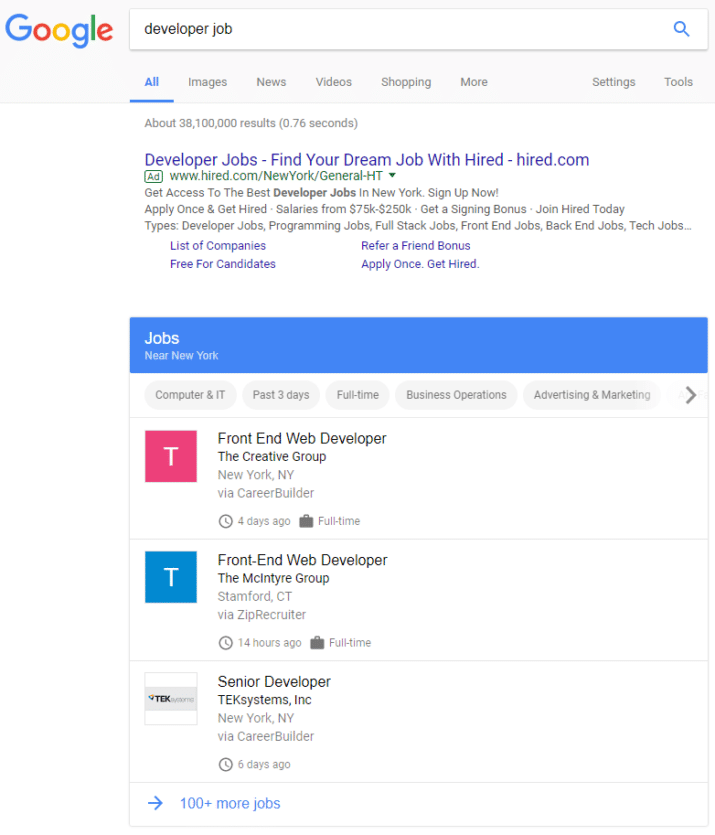 google for jobs search results