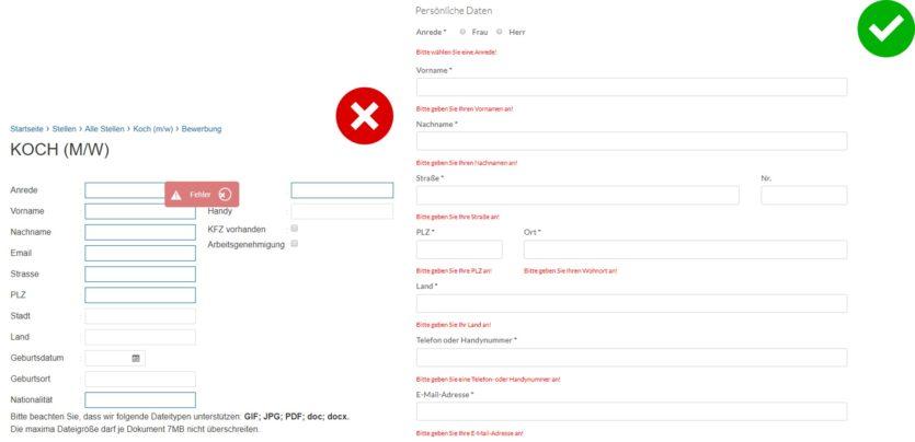 Labels und Fehlermeldungen im Bewerbungsformular sollten klar bezeichnet sein.