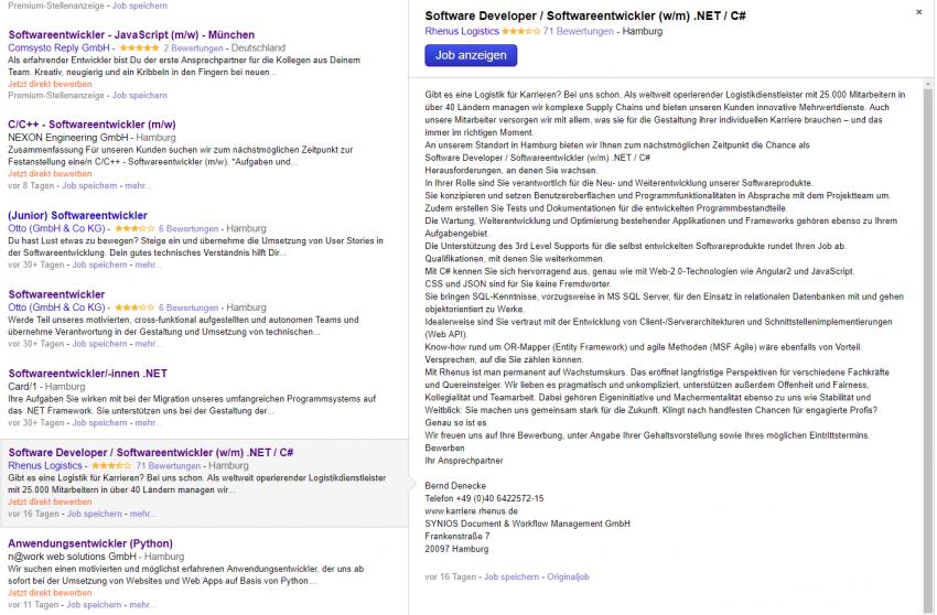 Beispiel Recruiting Stellenanzeige bei Indeed Jobsuchmaschine