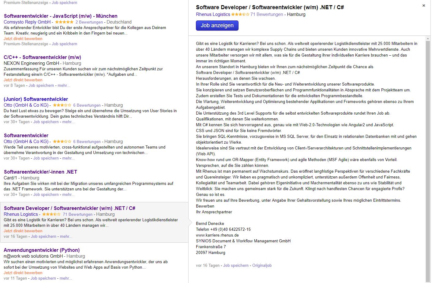 indeed job vorschau