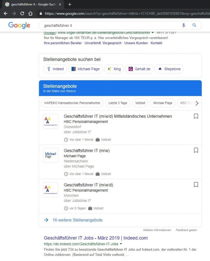Google Jobs: Stellenanzeigen bei Google for Jobs suchen
