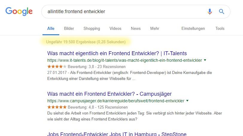 Candidate Journey bei Google - Jobtitel optimieren