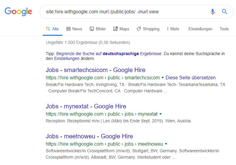 google hire kunden liste