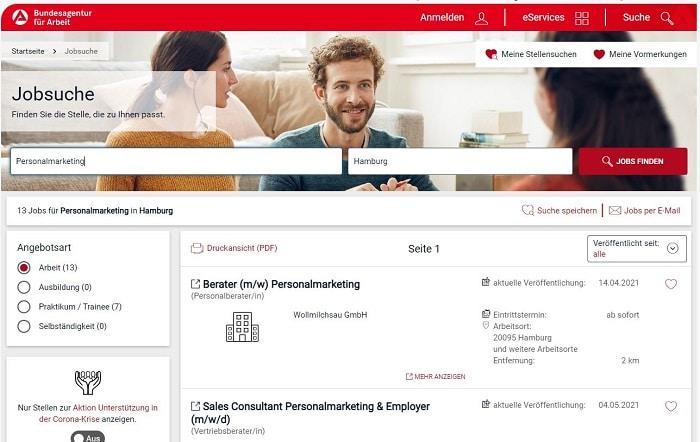 Screenshot von der Jobbörse der Agentur für Arbeit: Hier kannst Du kostenlos Stellenanzeigen schalten
