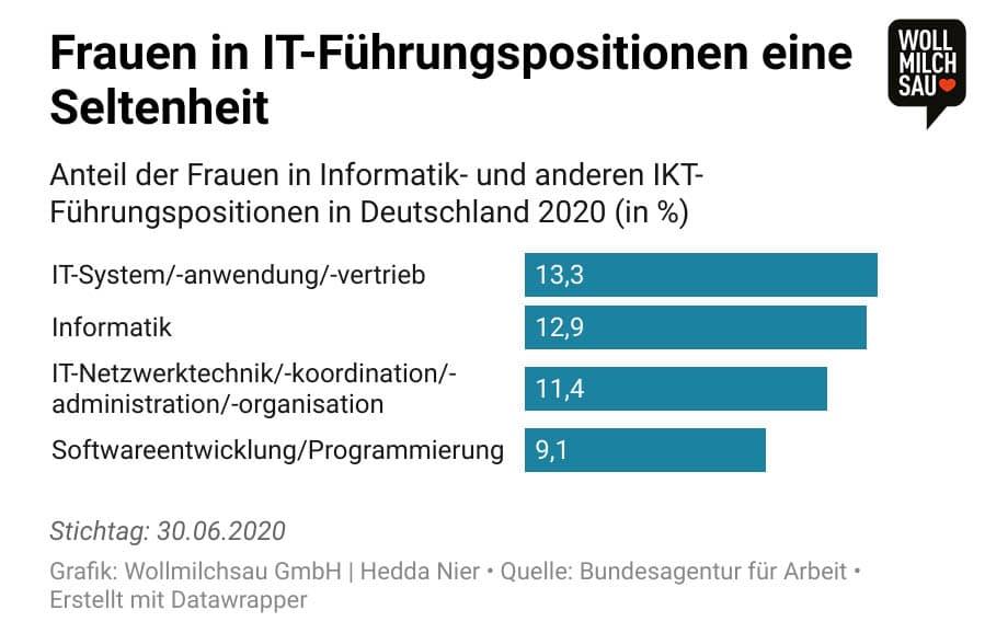 Infografik: Frauenanteil in IT-Führungspositionen in Deutschland in 2020