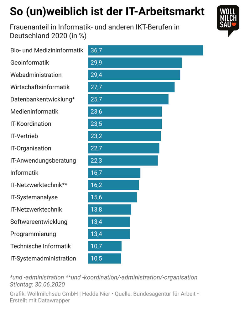Infografik: Frauenanteil in Informatik- und anderen ITK-Berufen in Deutschland 2020