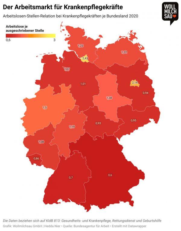 Vorurteile in der Pflege - Arbeitslosenstellenrelation je Bundesland