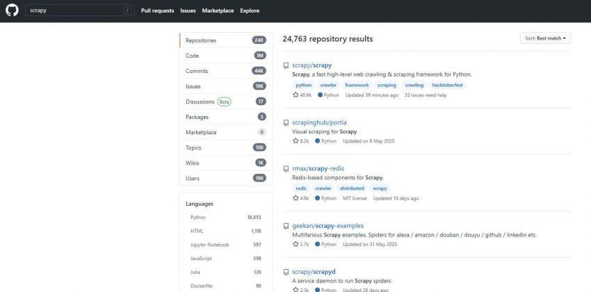 Screenshot der GitHub Suche