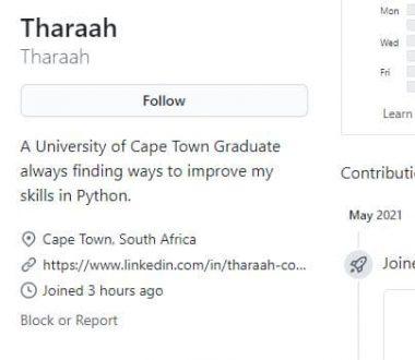 Screenshot: Ein User-Profil auf GitHub Recruiting